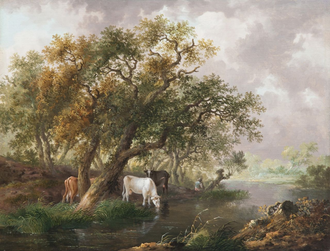 Fredericus Theodorus Renard | Cattle watering by a wooded river, oil on panel, 26.5 x 34.3 cm, signed (vague) on a label on the reverse and painted ca. 1815