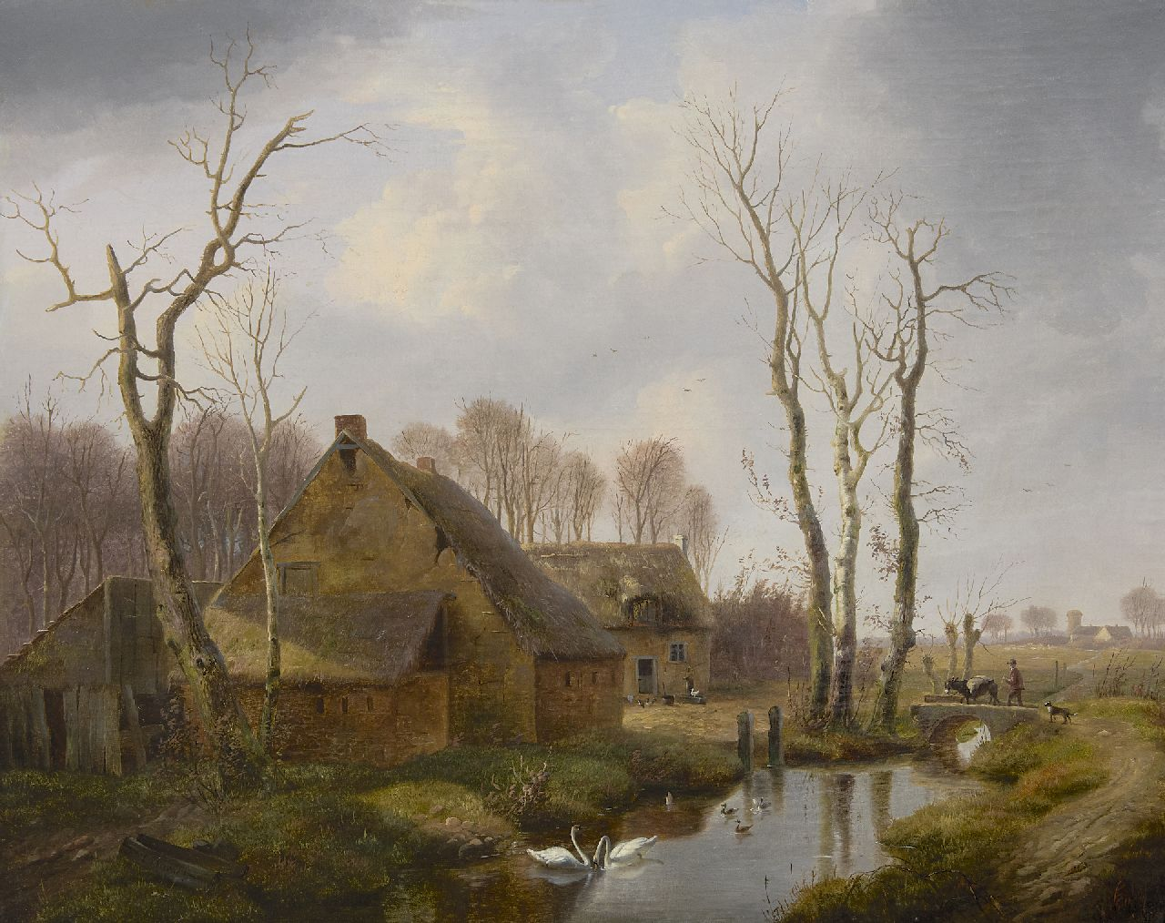 Verwee L.P.  | Louis Pierre Verwee | Paintings offered for sale | A farm with landfolk and animals, oil on canvas 54.6 x 69.5 cm, signed l.l.