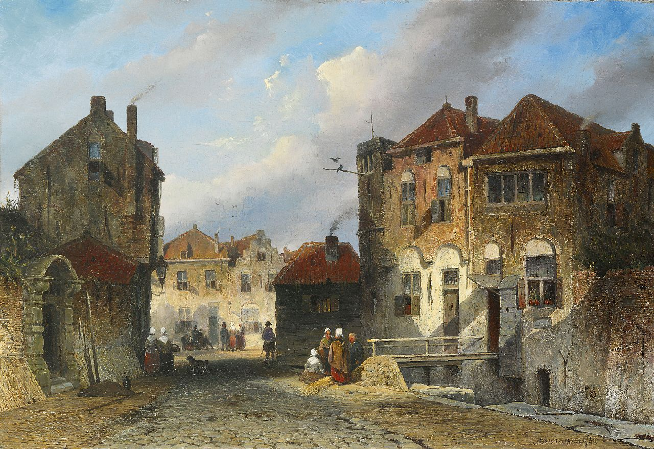 Weissenbruch J.  | Johannes 'Jan' Weissenbruch, Daily activities in a Dutch town in summer, oil on panel 34.8 x 50.9 cm, signed l.r. and with initials on the reverse and dated '44