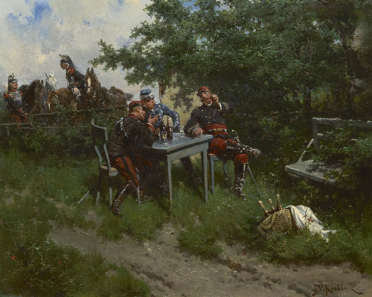 Koekkoek H.W.  | Hermanus Willem Koekkoek, French officers taking a break, oil on canvas 43.5 x 53.2 cm, signed l.r. and painted in 1892
