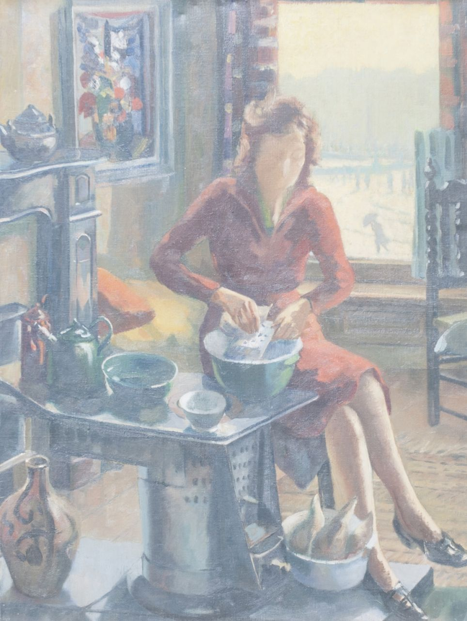 Toon Pluijmers | Prepairing the meal, oil on canvas, 80.3 x 60.4 cm, painted ca. 1945