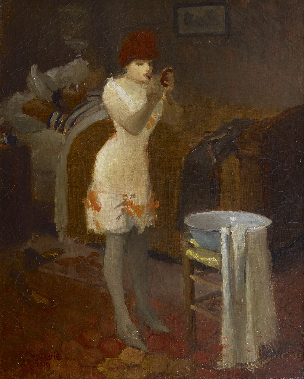 Auguste Louis Leymarie | Getting dressed, oil on canvas, 40.9 x 32.5 cm, signed l.l. and dated '09