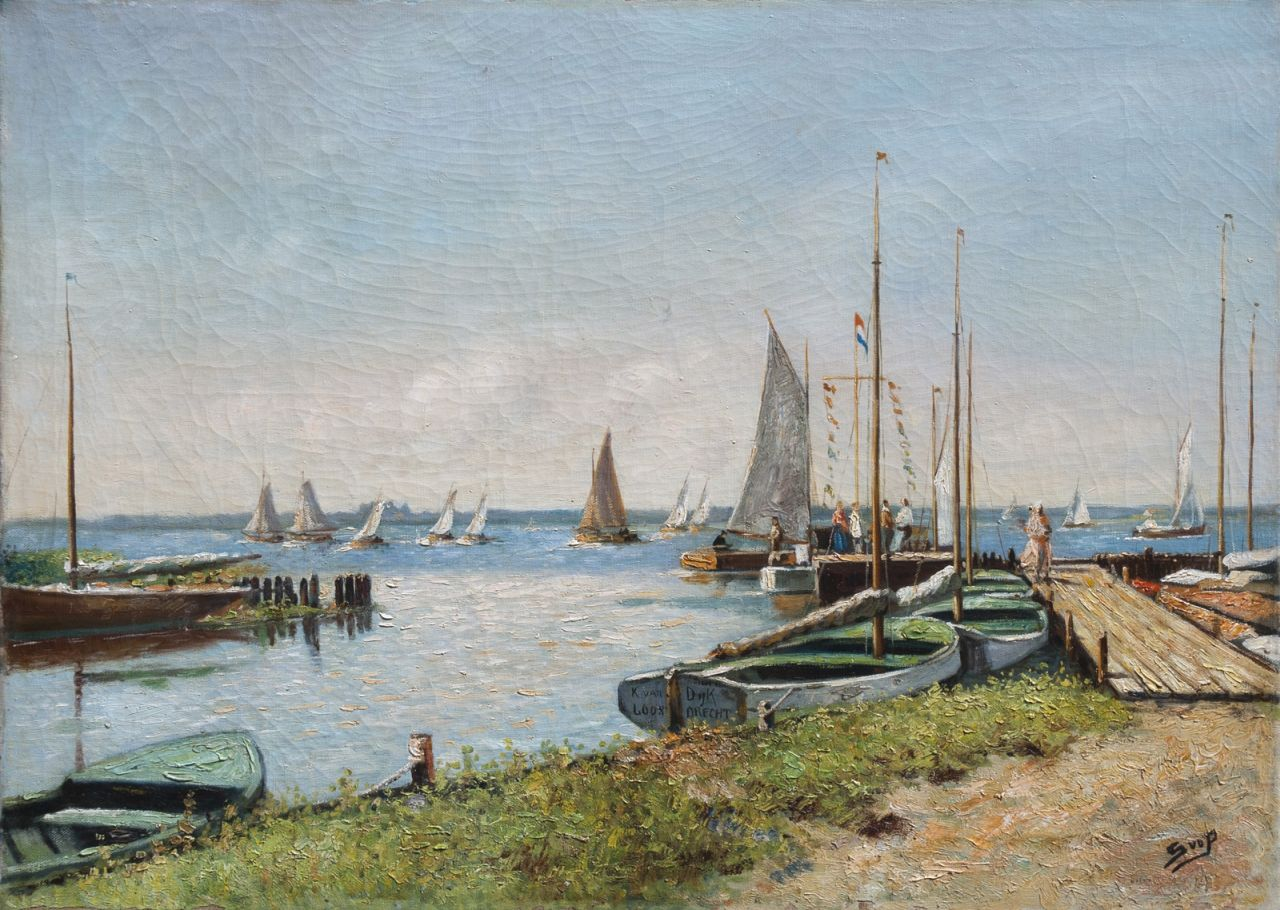 Hendrika van der Pek | Moored sailing boats in Loosdrecht, oil on canvas, 50.3 x 70.3 cm, signed l.r. with initials