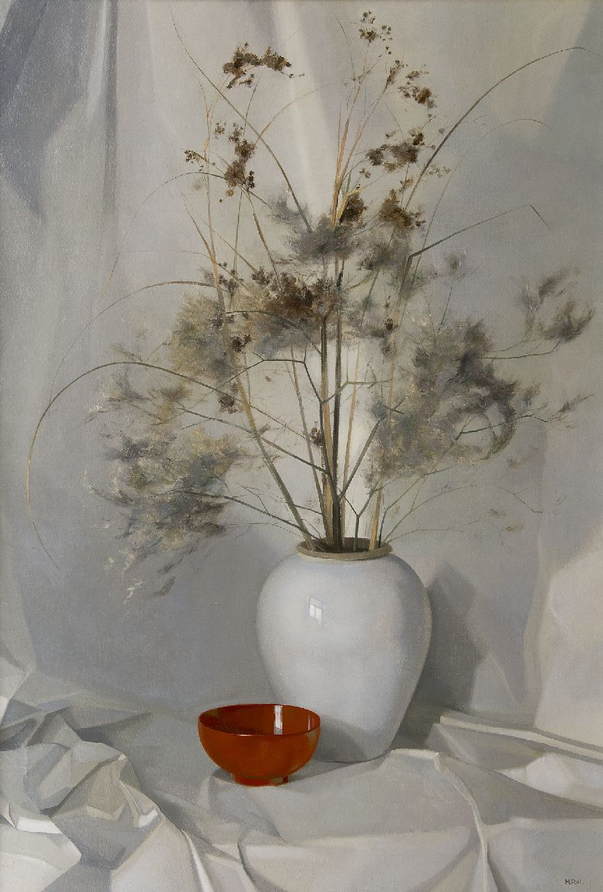 Rol H.  | Henricus Rol, Dried flowers in a vase, oil on canvas 94.2 x 64.1 cm, signed l.r.