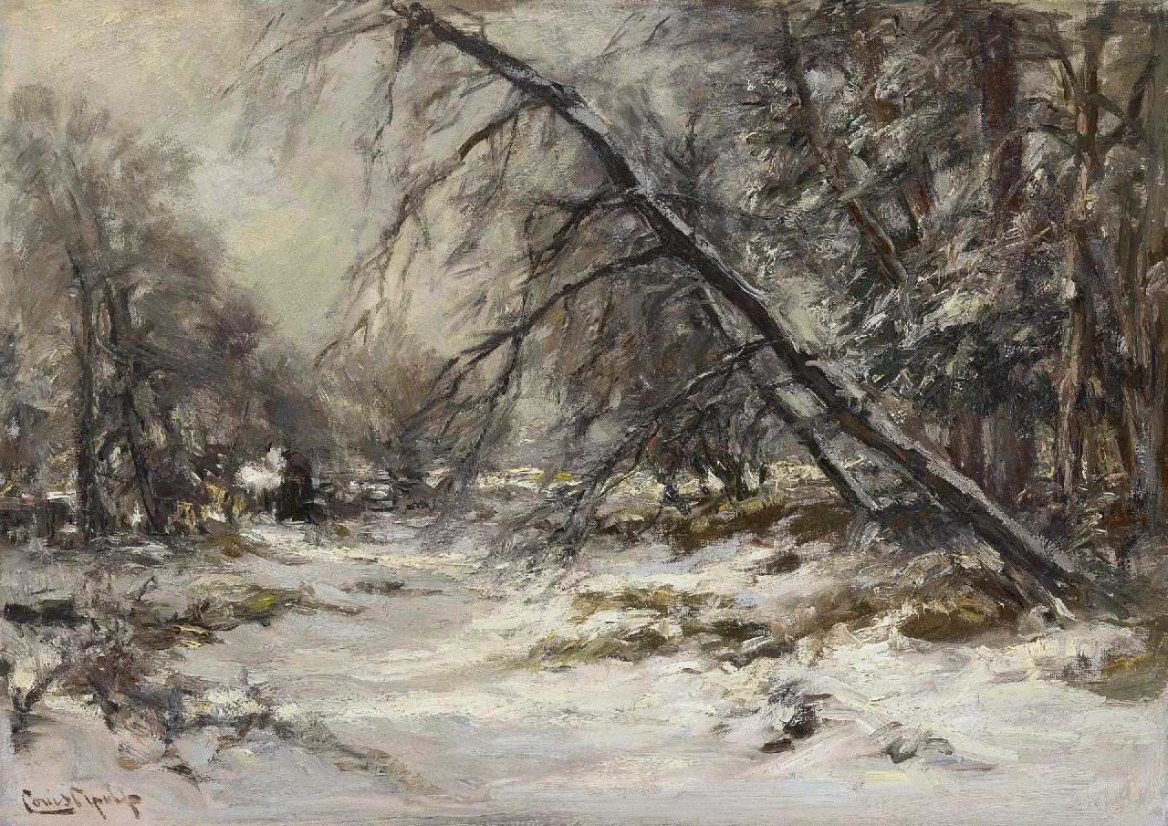 Apol L.F.H.  | Lodewijk Franciscus Hendrik 'Louis' Apol, A forest path in winter, oil on canvas 50.1 x 70.3 cm, signed l.l.