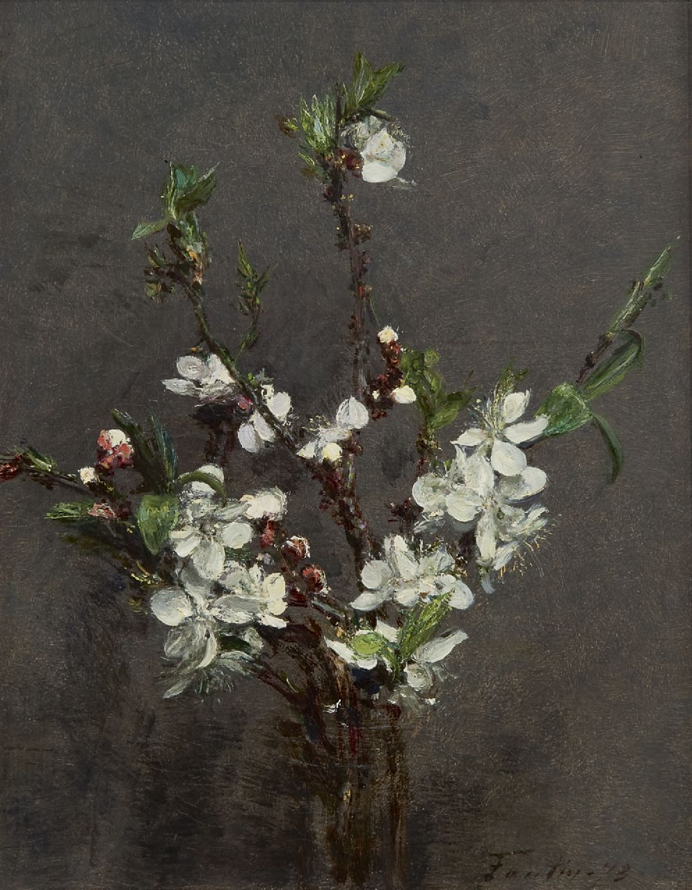 Fantin-Latour I.H.J.T.  | Ignace 'Henri' Jean Théodore Fantin-Latour, Blossoming branches, oil on canvas 27.0 x 21.2 cm, signed l.r. and dated '73