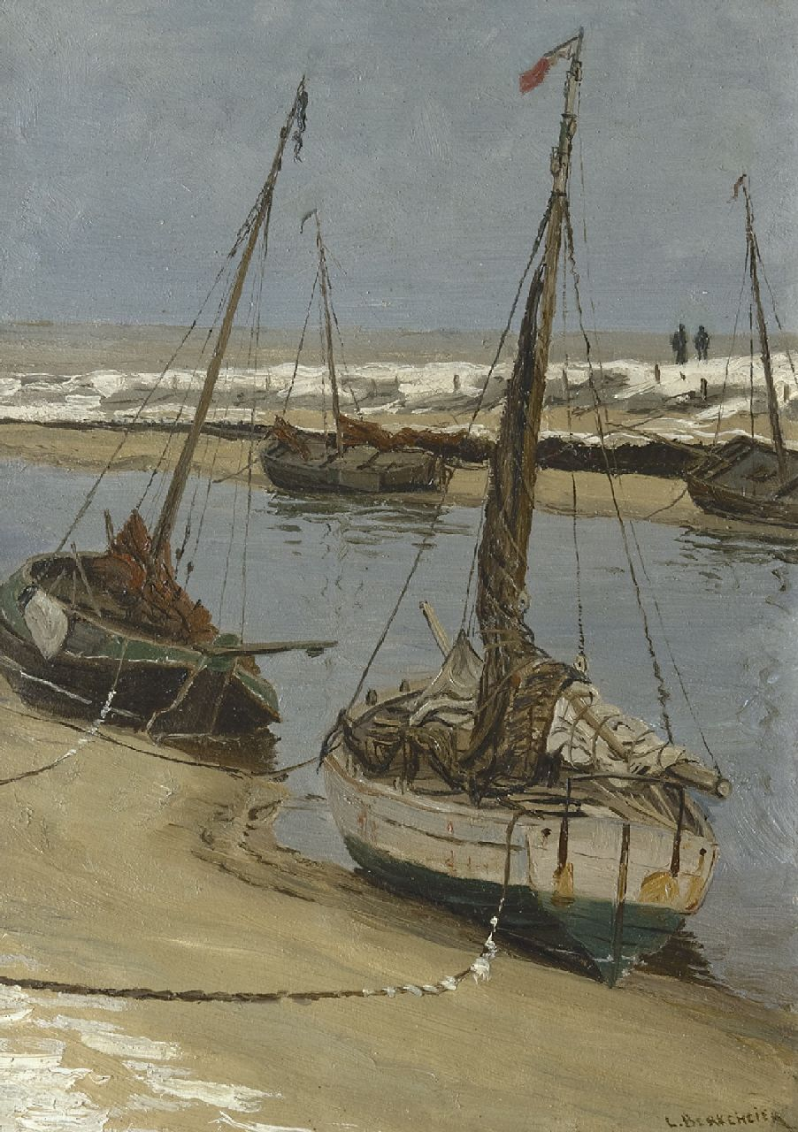 Ludolph Berkemeier | Fishing boats on the 'Uitwatering' in Katwijk aan Zee at low tide, oil on panel, 35.5 x 25.1 cm, signed l.r.