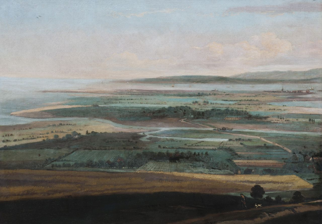 Haagen J.C. van der | Joris Cornelisz. van der Haagen, A panoramic landscape, possibly near Falmouth (Great-Britain), oil on canvas 55.1 x 75.5 cm