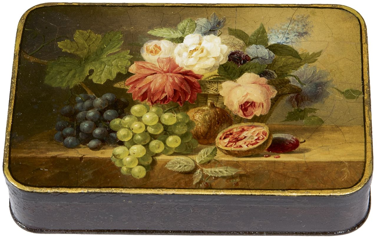 Arnoldus Bloemers | Box painted with flowers and fruit, oil on tin, 9.3 x 14.0 cm, painted ca. 1833