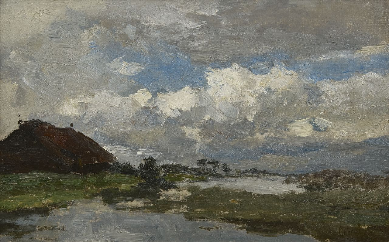 Gabriel P.J.C.  | Paul Joseph Constantin 'Constan(t)' Gabriel, Landscape under a cloudy sky, oil on canvas laid down on panel 24.1 x 38.0 cm, signed l.r.