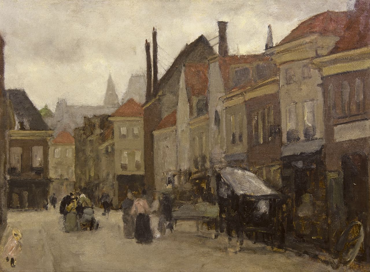 Arntzenius P.F.N.J.  | Pieter Florentius Nicolaas Jacobus 'Floris' Arntzenius, The Grote Markt in The Hague, oil on canvas laid down on board 45.2 x 60.8 cm