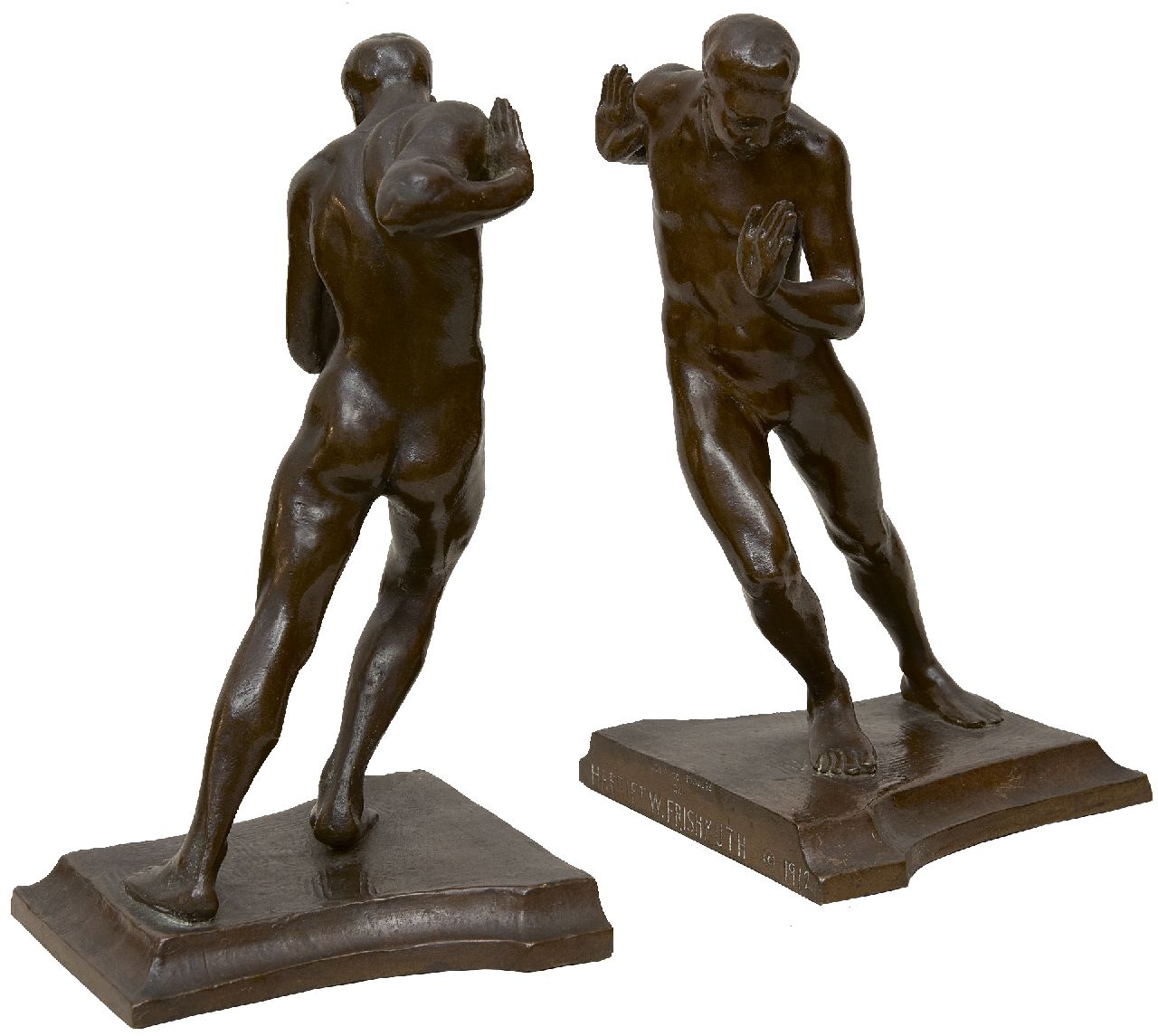 Frishmuth H.W.  | Pushing Men (bookends), bronze with a brown patina, 19.7 x 11.0 cm, signed on lower edge of the base and dated 1912 on the base