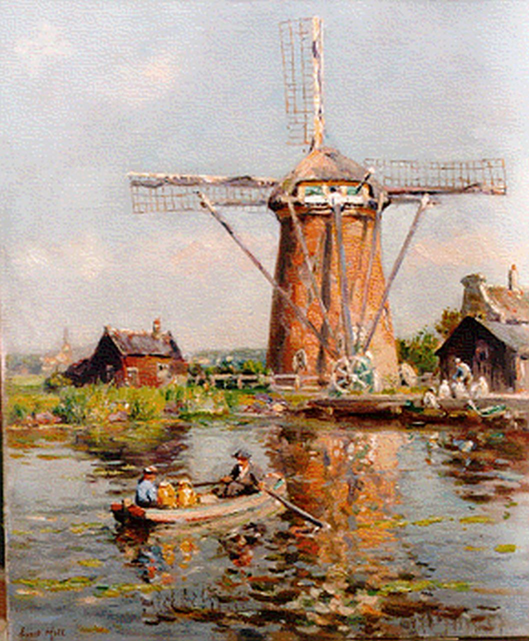 Moll E.  | Evert Moll, A windmill by Voorschoten, oil on canvas 60.0 x 50.0 cm, signed l.l.