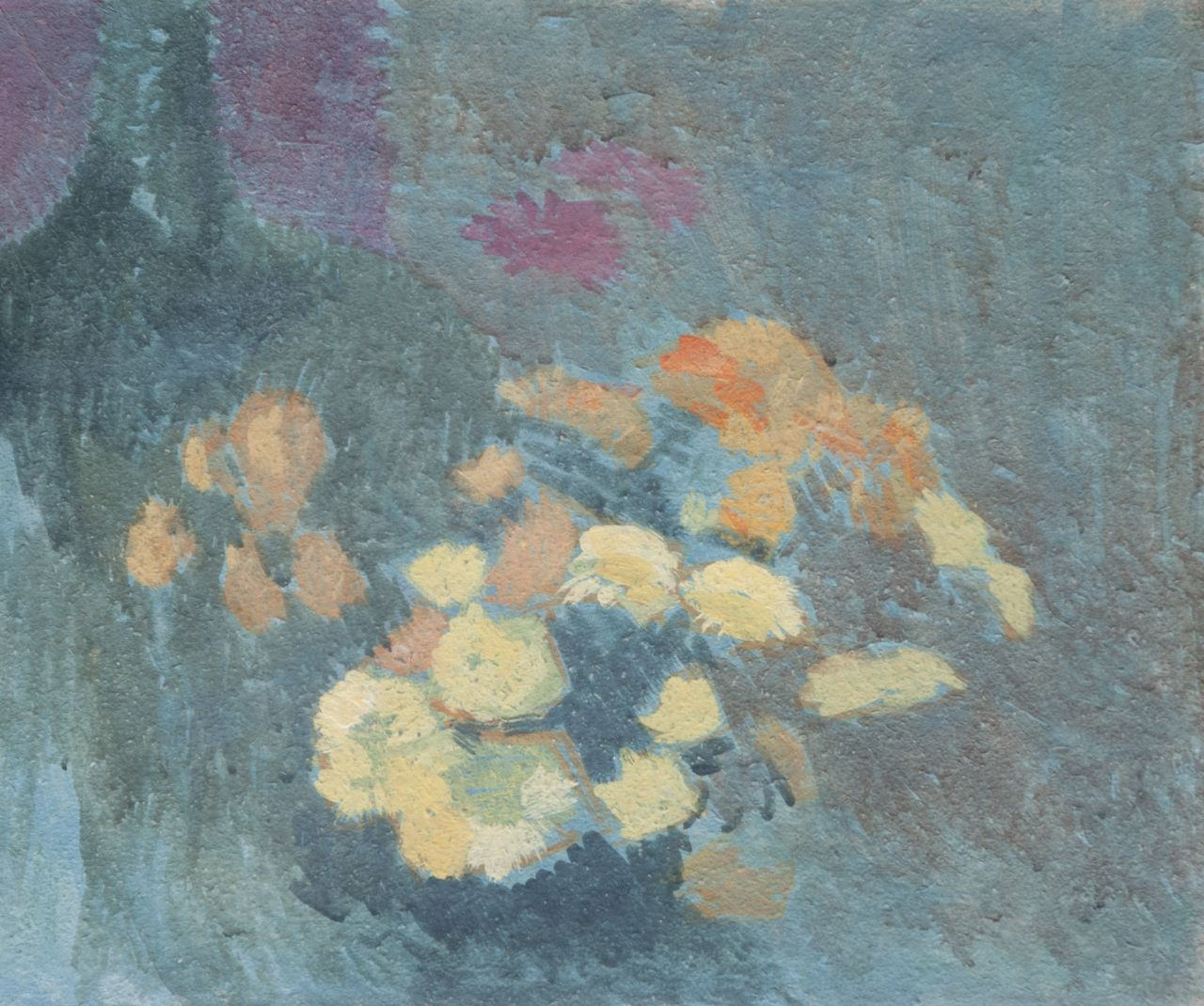 Maurice Sys | Still-life of yellow and orange flowers, gouache on board, 40.8 x 50.5 cm