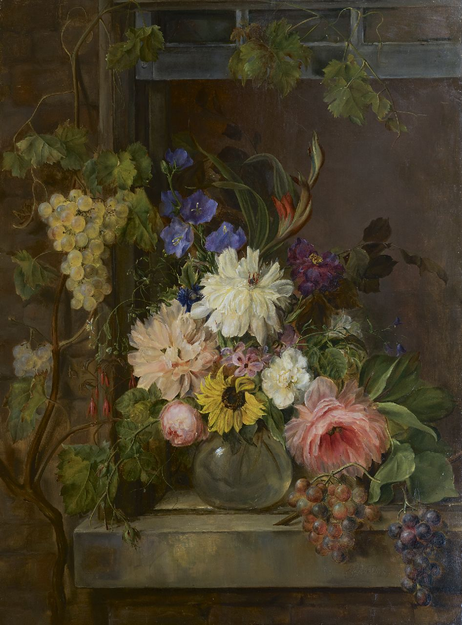Georgius van Os | A still life with flowers and grapes, oil on panel, 97.0 x 75.5 cm, signed l.r. and dated 1809