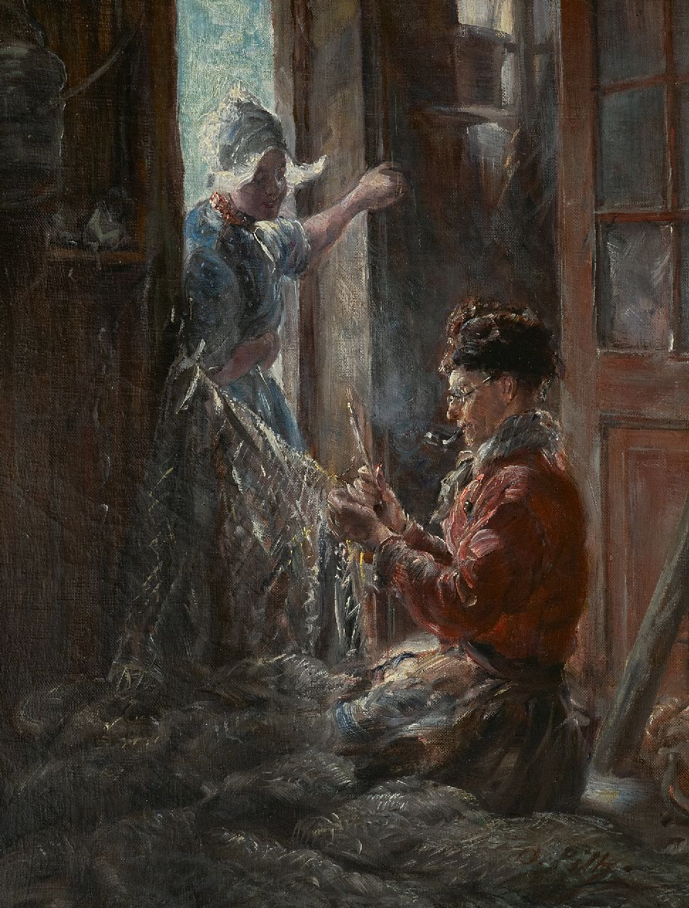 Otto Piltz | Repairing the nets, Volendam, oil on canvas, 45.6 x 36.4 cm, signed l.r. and painted ca. 1909