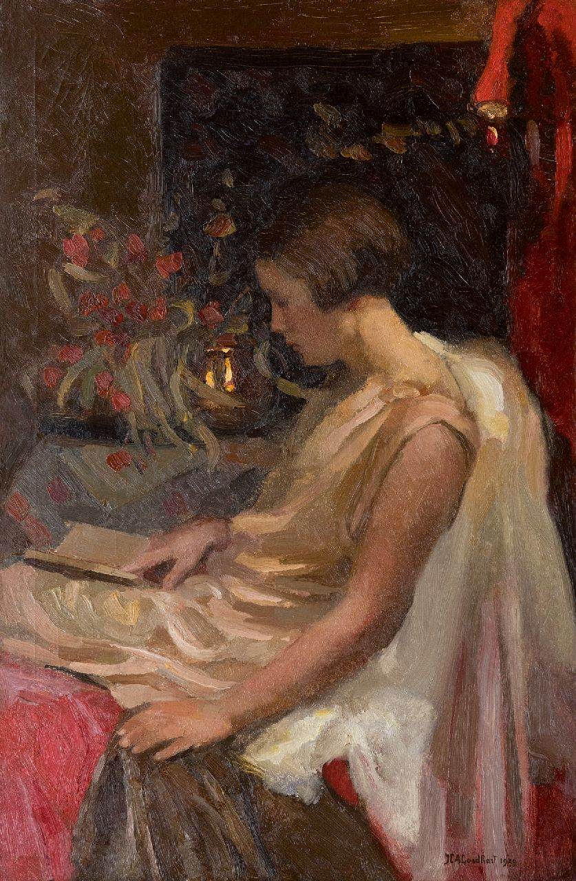 Jan Goedhart | A young girl reading, oil on canvas, 85.3 x 56.0 cm, signed l.r. and dated 1929