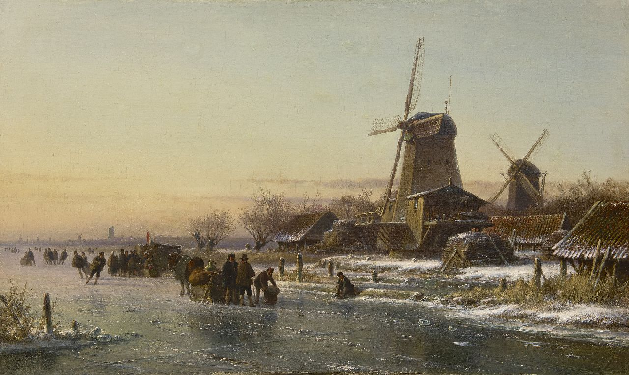 Kleijn L.J.  | Lodewijk Johannes Kleijn, Skaters and a 'koek-en-zopie' by a windmill, oil on canvas 44.2 x 73.6 cm, signed possibly l.l. (indistinctly)