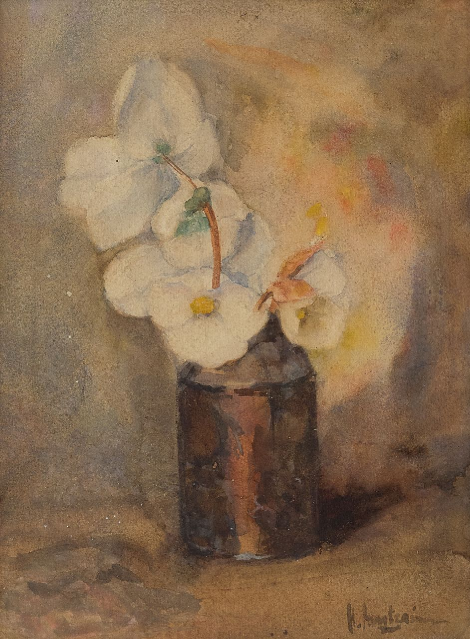 Arntzenius P.F.N.J.  | Pieter Florentius Nicolaas Jacobus 'Floris' Arntzenius | Watercolours and drawings offered for sale | Poinsettias in a vase, watercolour on paper 28.3 x 21.2 cm, signed l.r.