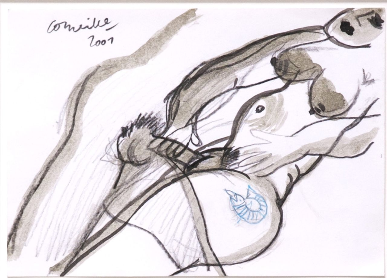 Corneille ('Corneille' Guillaume Beverloo)   | Corneille ('Corneille' Guillaume Beverloo) | Watercolours and other works on paper offered for sale | Faire l'amour, ink, chalk and watercolour on paper 14.8 x 20.7 cm, signed u.l. and dated 2001