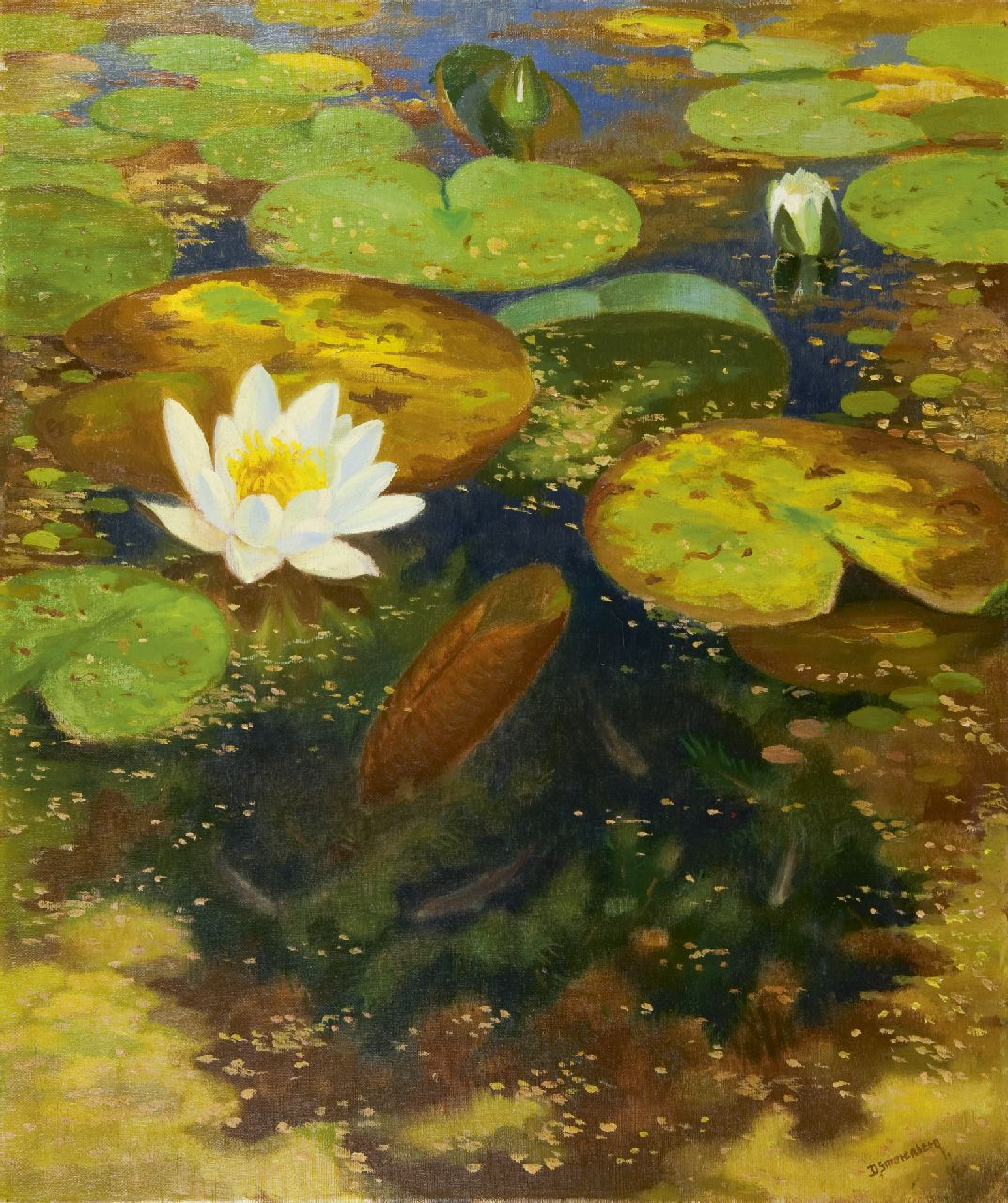 Smorenberg D.  | Dirk Smorenberg, Water lillies, oil on canvas 59.7 x 50.3 cm, signed l.r. and dated '47