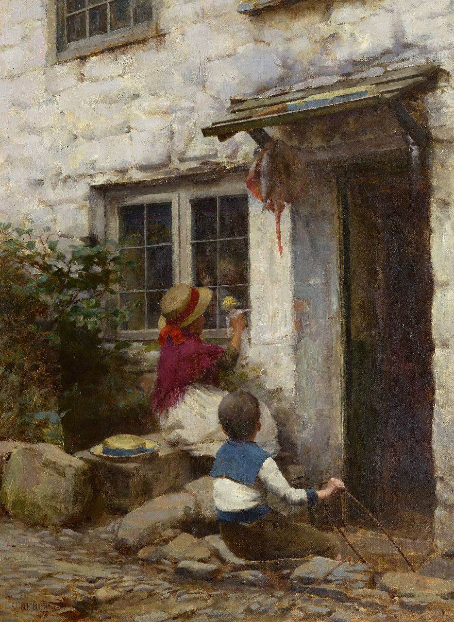 Burrington A.A.  | Arthur Alfred Burrington | Paintings offered for sale | Behind the window pane, oil on canvas 44.5 x 33.2 cm, signed l.l. and dated 1888