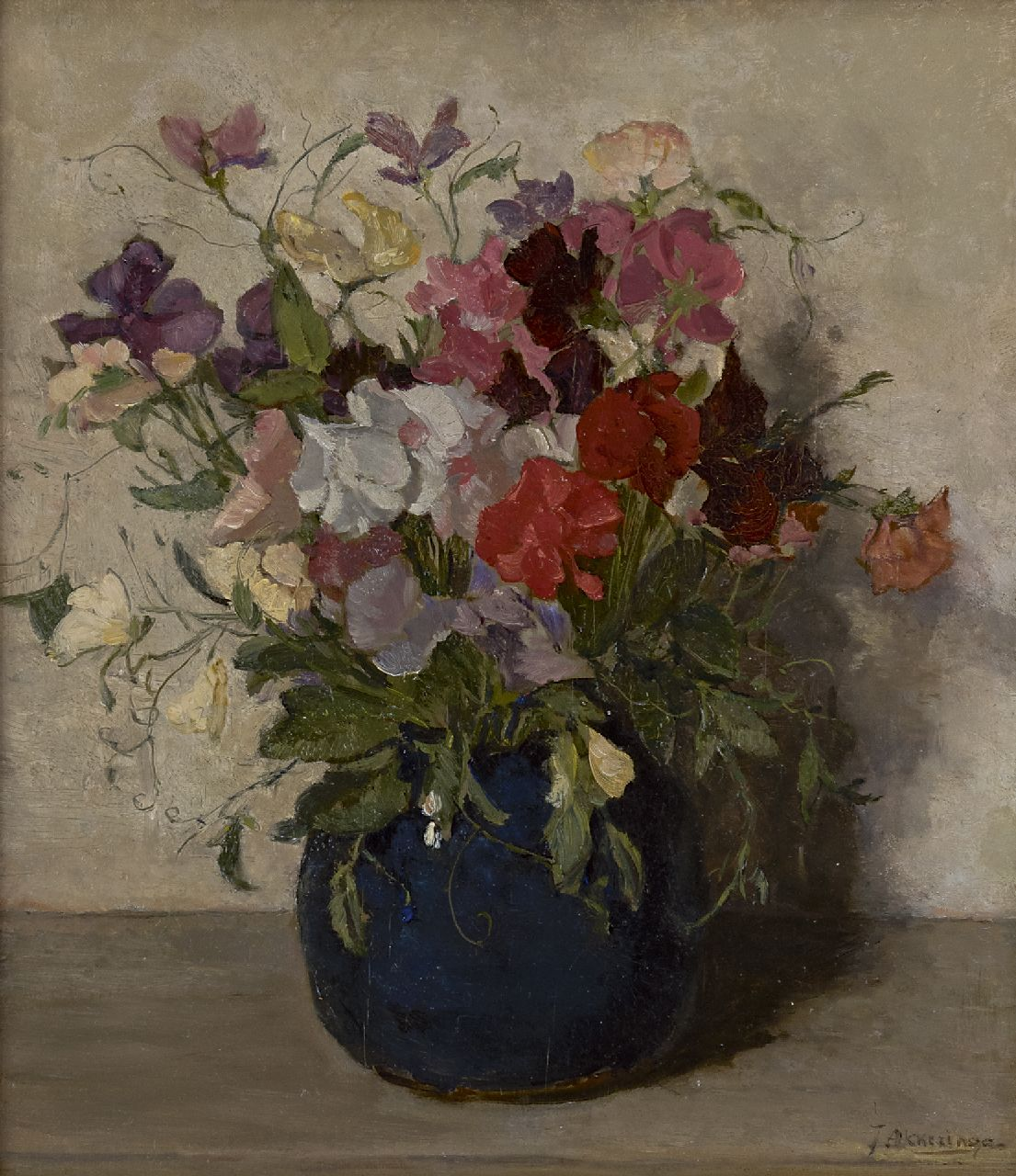 Akkeringa J.E.H.  | 'Johannes Evert' Hendrik Akkeringa, Sweet pea in a blue vase, oil on panel 32.4 x 28.2 cm, signed l.r. and on the reverse and dated 15 Oct 1937 on the reverse