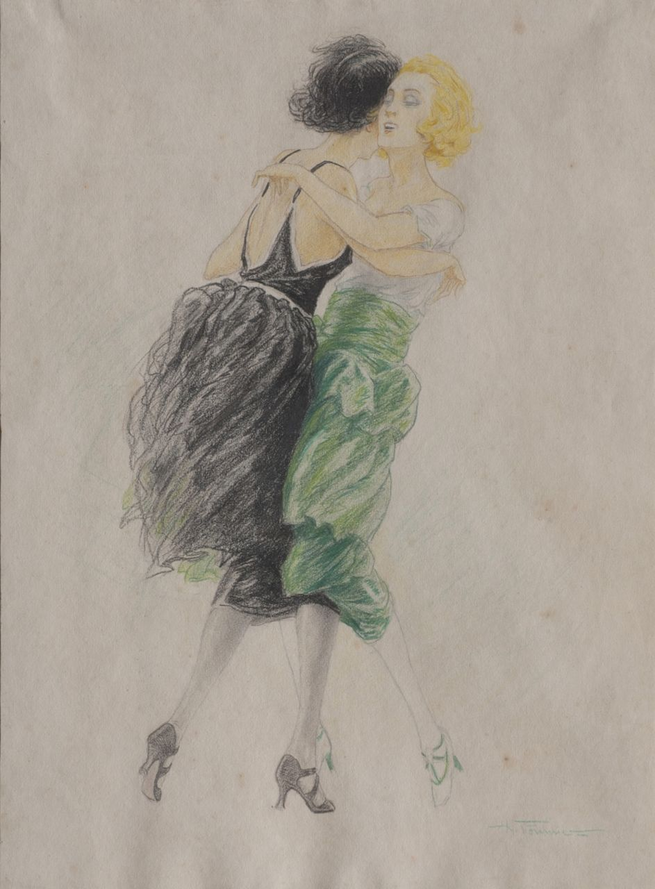 Hippolyte Fournier | Dancing young women, pencil and chalk on paper, 52.2 x 39.0 cm, signed l.r.