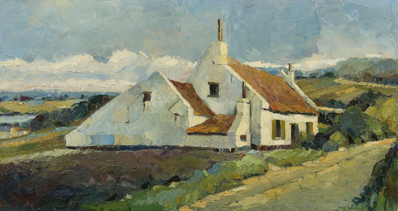 Wim Veltman | White house in a hilly landscape, oil on board, 52.4 x 94.8 cm