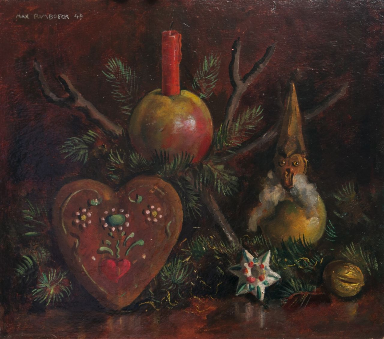 Rimböck M.  | Max Rimböck | Paintings offered for sale | Christmas still life, oil on painter's board 29.4 x 35.3 cm, signed u.l. and dated '49