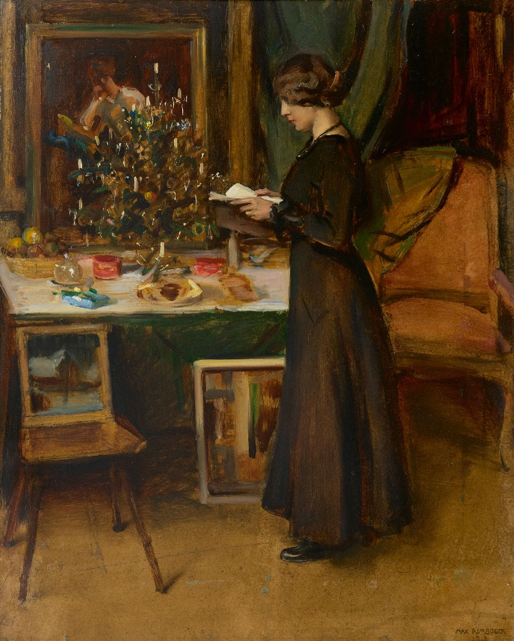 Rimböck M.  | Max Rimböck | Paintings offered for sale | Young woman by a Christmas tree, oil on painter's board 63.2 x 51.1 cm, signed l.r. and dated 1918