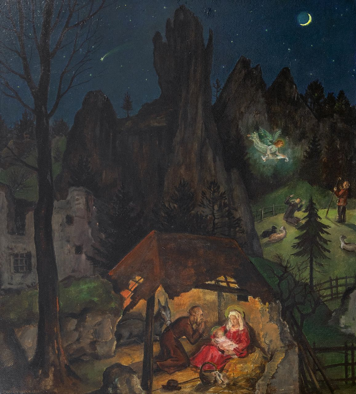 Rimböck M.  | Max Rimböck | Paintings offered for sale | The birth of Christ, oil on painter's board 73.5 x 66.0 cm, signed l.l. and dated 1931