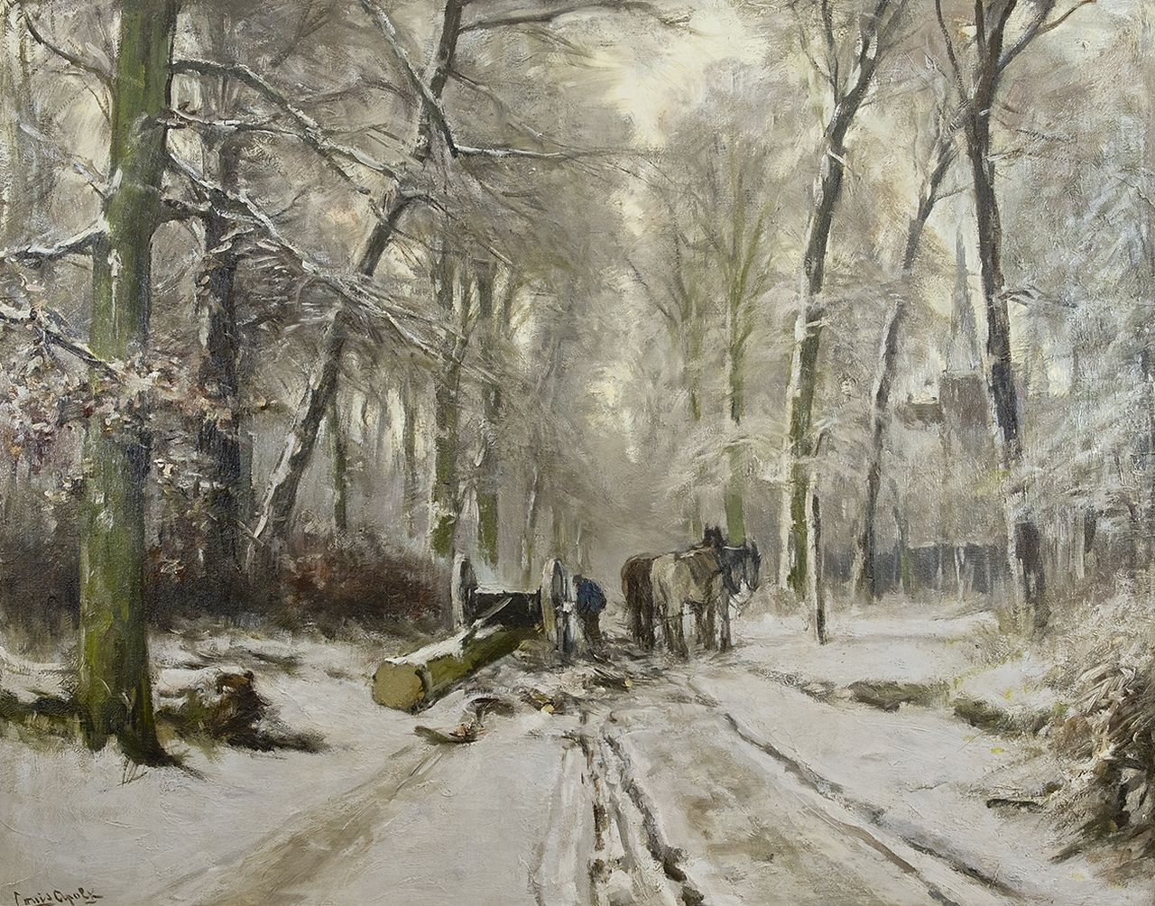 Apol L.F.H.  | Lodewijk Franciscus Hendrik 'Louis' Apol, A 'mallejan' in a snowy forest, oil on canvas 73.4 x 92.8 cm, signed l.l.