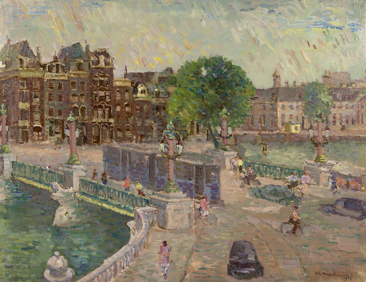 Neuburger E.  | Eliazer 'Elie' Neuburger, The Blauwbrug, Amsterdam, oil on canvas 47.8 x 60.8 cm, signed l.r. and dated 1955