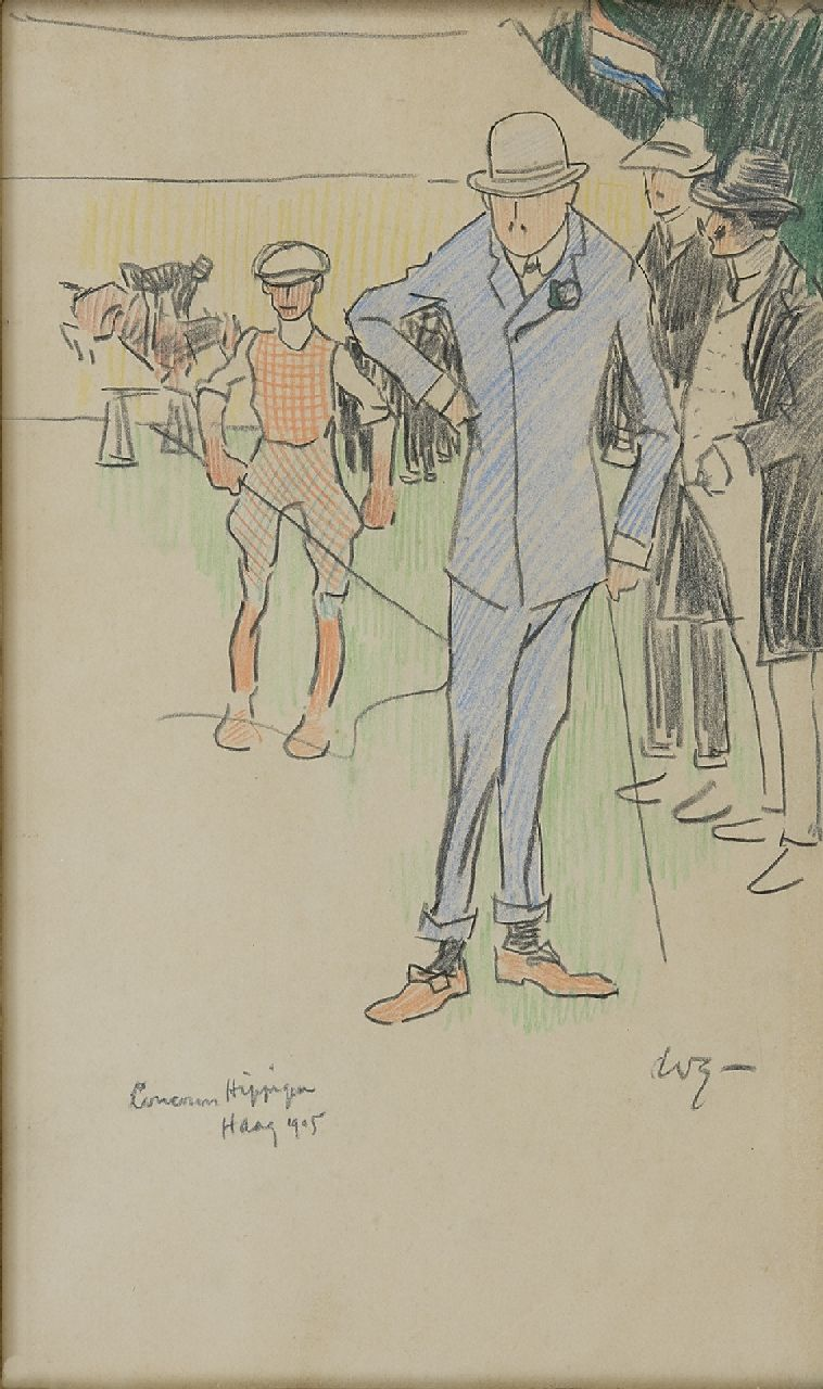 Sluiter J.W.  | Jan Willem 'Willy' Sluiter, On the  International Concours Hippique in The Hague, 1905, chalk on paper 32.7 x 19.0 cm, signed l.r. with initials and dated 1905