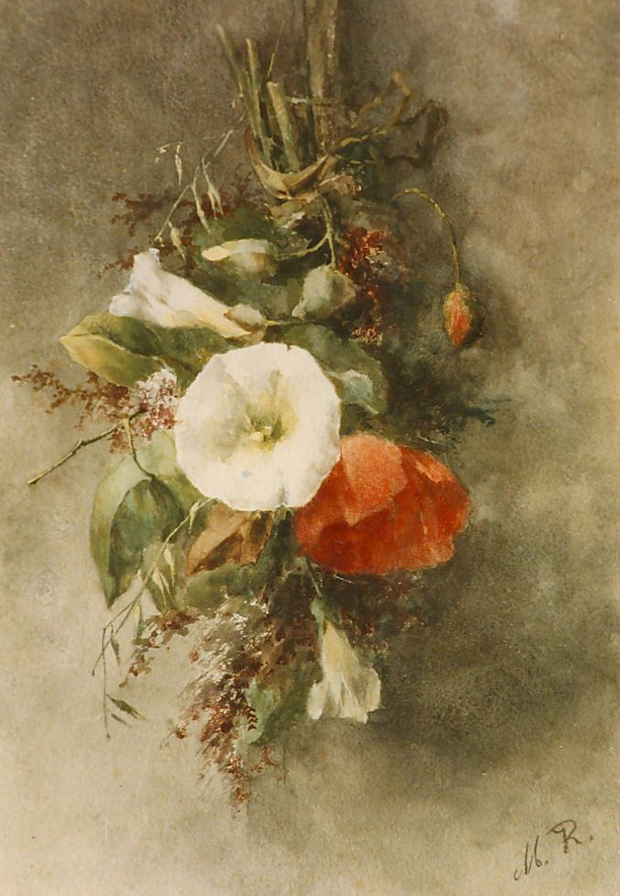 Roosenboom M.C.J.W.H.  | 'Margaretha' Cornelia Johanna Wilhelmina Henriëtta Roosenboom, A bouquet with hedge bindweed and poppies, watercolour on paper 35.0 x 25.0 cm, signed l.r. with monogram