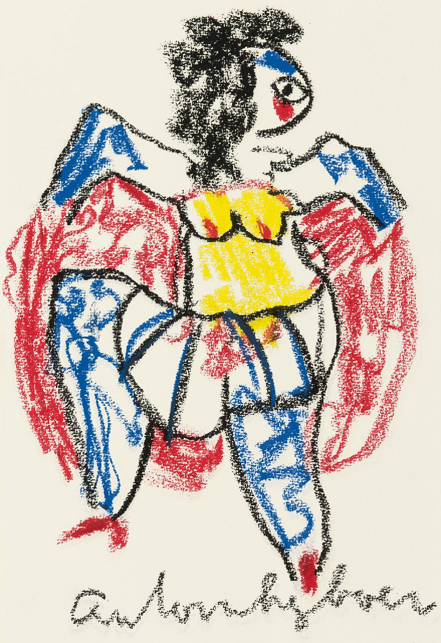 Heyboer A.  | Anton Heyboer | Watercolours and drawings offered for sale | Dancer, chalk on paper 29.0 x 20.0 cm, signed l.c.