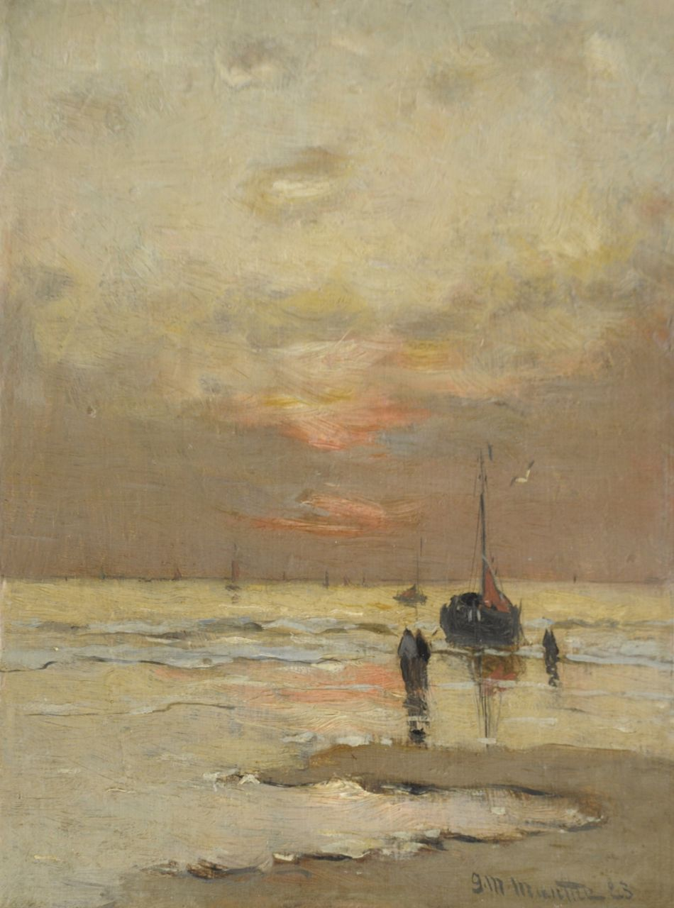 Munthe G.A.L.  | Gerhard Arij Ludwig 'Morgenstjerne' Munthe, At sunset, oil on painter's board 25.0 x 19.3 cm, signed l.r. and dated '23
