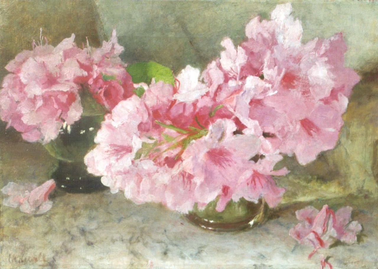 Oldewelt F.G.W.  | 'Ferdinand' Gustaaf Willem Oldewelt, Rhododendron, oil on canvas 33.0 x 46.2 cm, signed l.l.