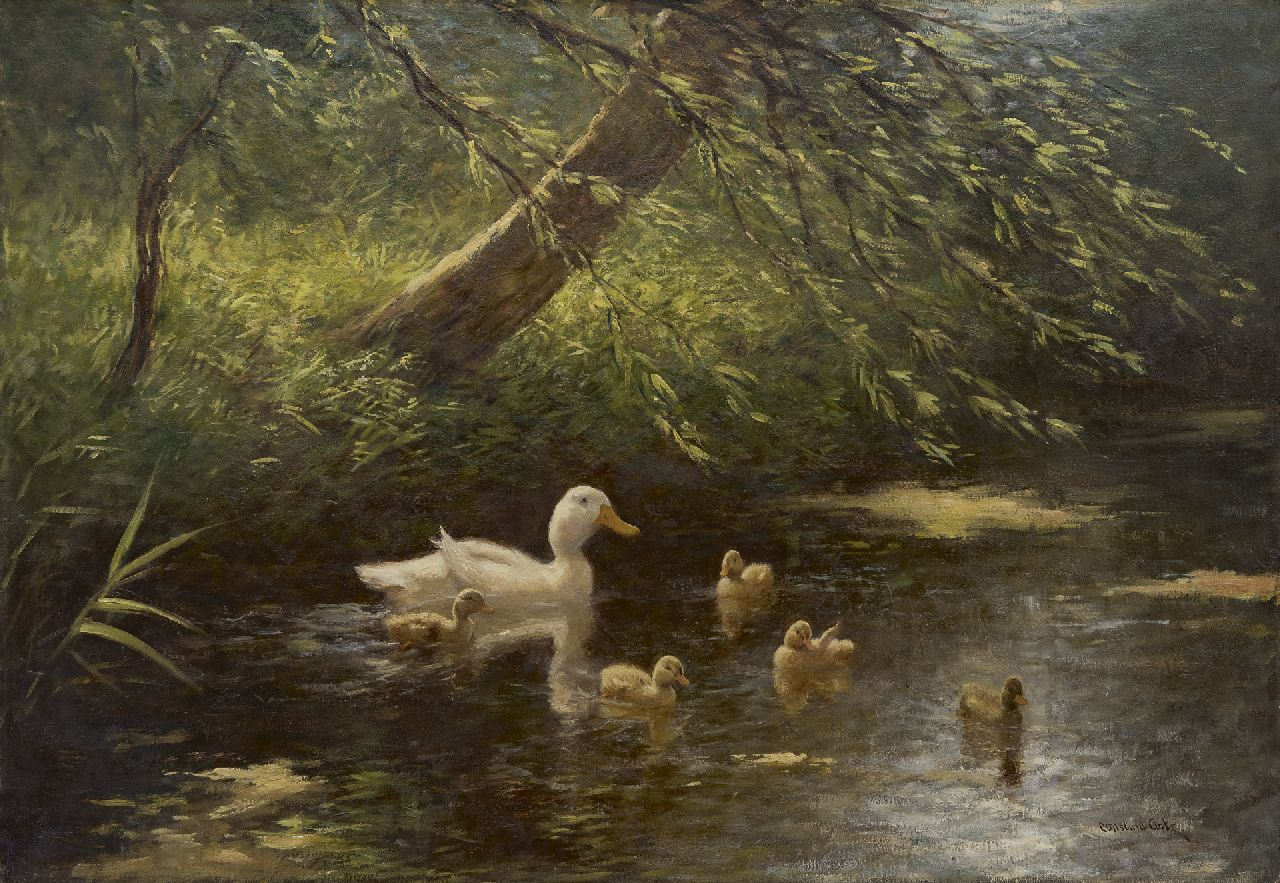 Artz C.D.L.  | 'Constant' David Ludovic Artz | Paintings offered for sale | Duck with ducklings in a ditch, oil on canvas 65.4 x 95.4 cm, signed l.r.