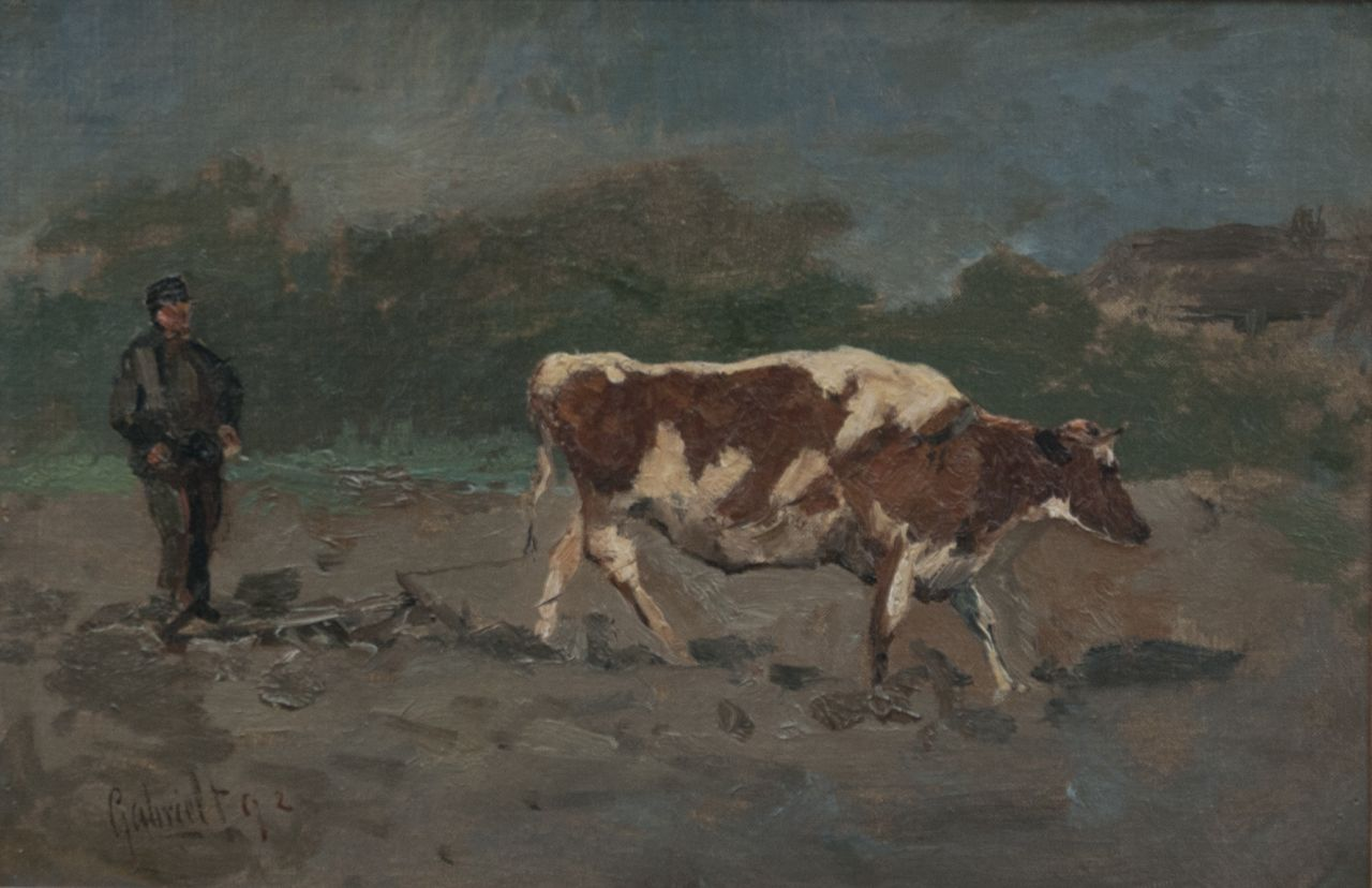 Gabriel P.J.C.  | Paul Joseph Constantin 'Constan(t)' Gabriel, A ploughing farmer, oil on canvas laid down on panel 22.3 x 33.0 cm, signed l.l. and dated '92