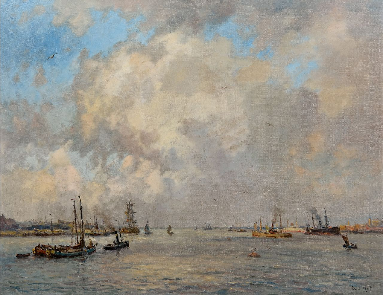 Moll E.  | Evert Moll | Paintings offered for sale | Navigation under a high cloudy sky, oil on canvas 72.2 x 92.7 cm, signed l.r.