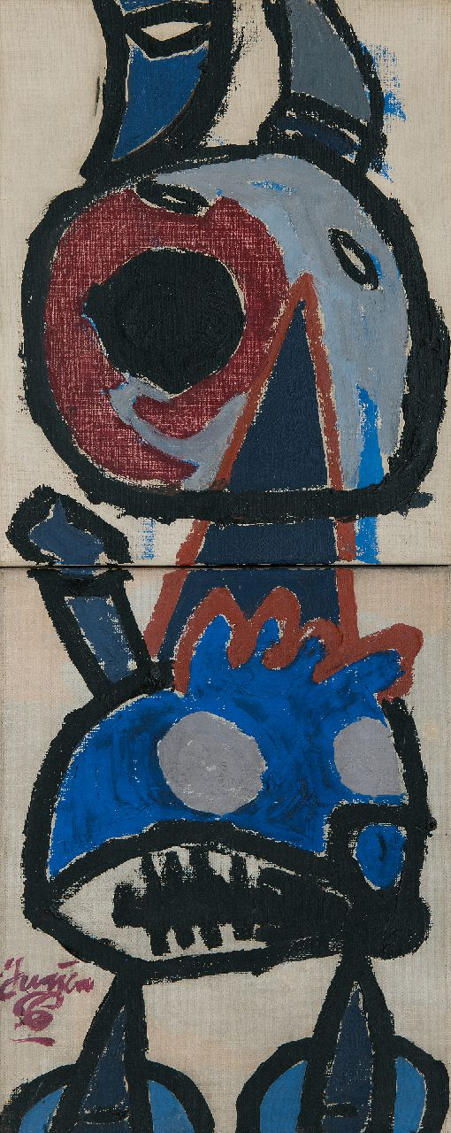 Haan J. de | Jurjen de Haan | Paintings offered for sale | Abstract creature, oil on canvas 60.0 x 24.2 cm, signed l.l. and dated '56