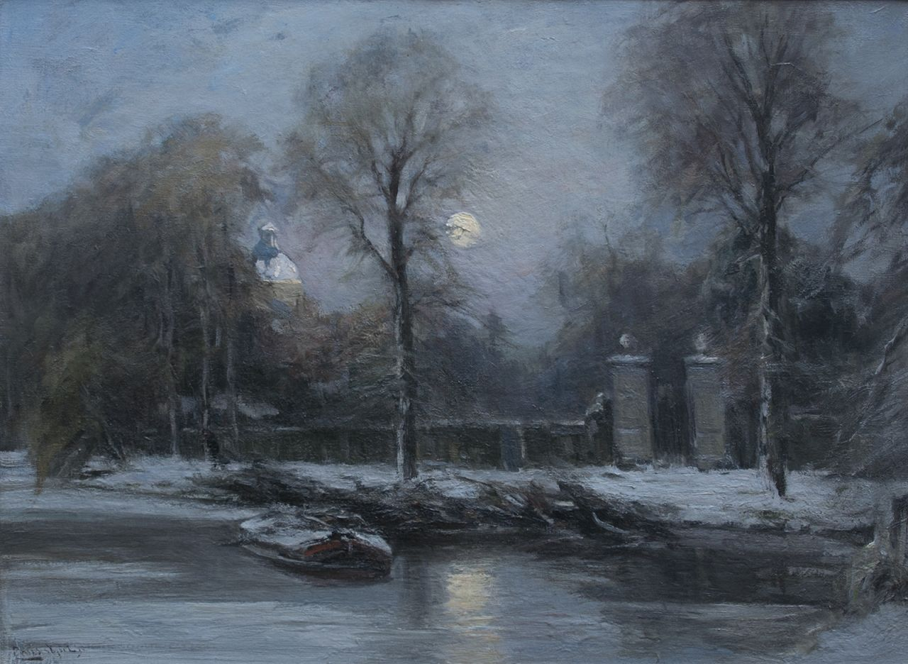 Apol L.F.H.  | Lodewijk Franciscus Hendrik 'Louis' Apol, The gate of Huis ten Bosch, The Hague, in winter, oil on canvas 55.3 x 76.3 cm, signed l.l.