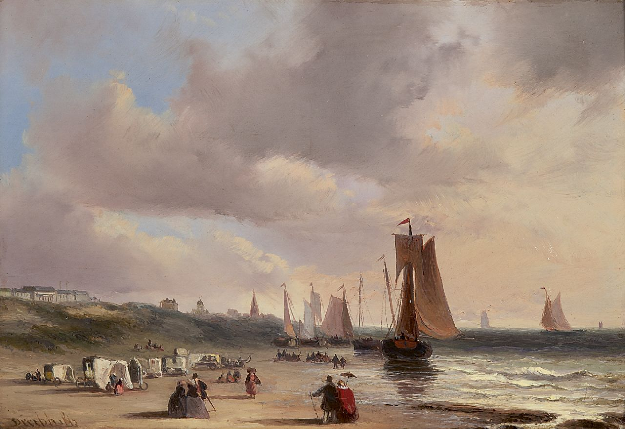 Christiaan Lodewijk Willem Dreibholtz | A beachview at Scheveningen, oil on panel, 23.9 x 34.3 cm, signed l.l.