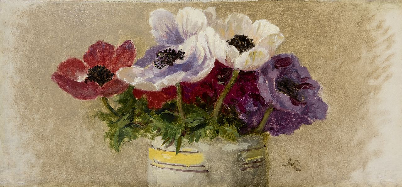 Ronner-Knip H.  | Henriette Ronner-Knip, Anemones, oil on panel 15.9 x 33.1 cm, signed l.r. with Monogramm