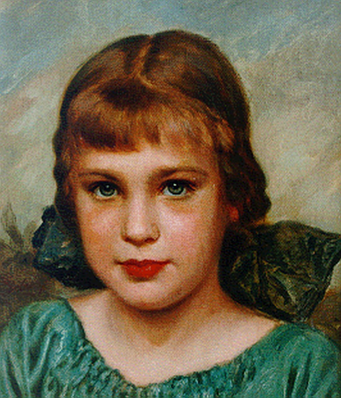 Fritz Erler | A portrait of a young girl, oil on canvas laid down on panel, 32.0 x 28.0 cm, signed l.l.