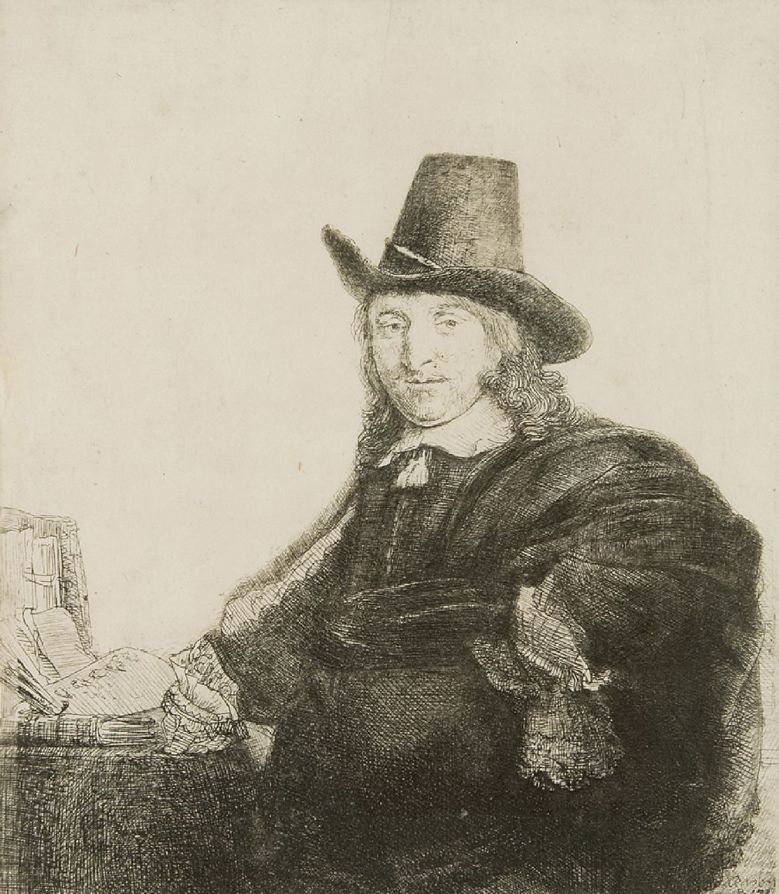 Rembrandt (Rembrandt Harmensz. van Rijn)   | Rembrandt (Rembrandt Harmensz. van Rijn) | Prints and Multiples offered for sale | The painter Jan Asselijn, also called 'Krabbetje', etching 19.2 x 16.4 cm, signed l.r. in the plate