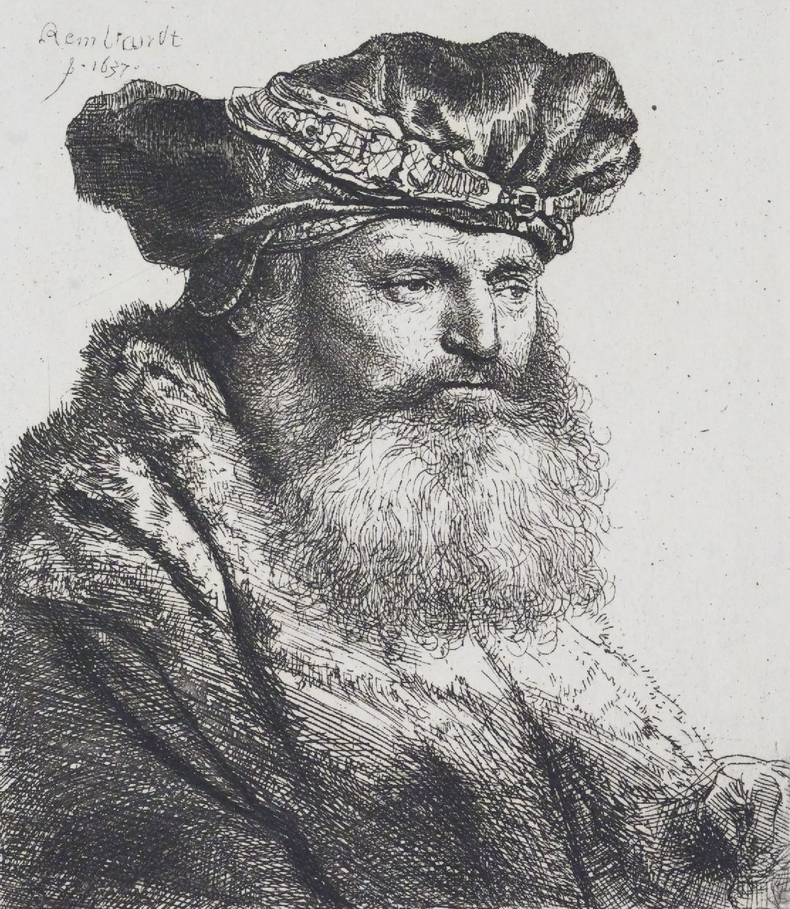 Rembrandt (Rembrandt Harmensz. van Rijn)   | Rembrandt (Rembrandt Harmensz. van Rijn) | Prints and Multiples offered for sale | Bearded nan in a velvet cap with a jewel clasp, etching on paper 9.5 x 8.2 cm, signed u.l. in the plate and dated 1637 in the plate