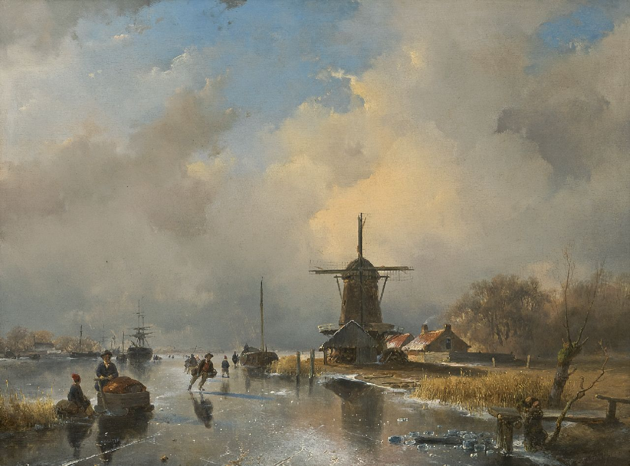 Schelfhout A.  | Andreas Schelfhout, A frozen river with skaters near a windmill, oil on panel 35.6 x 47.0 cm, signed l.r. and painted ca. 1840
